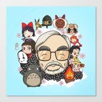 hayao miyazaki Canvas Prints featuring Ghibli, Hayao Miyazaki and friends by KickPunch