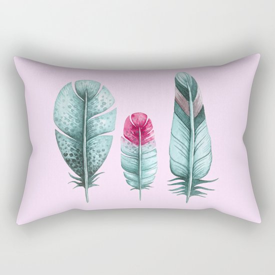 Watercolor feathers (pink) Rectangular Pillow
