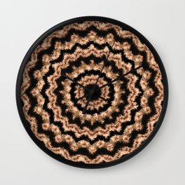 Kaleidoscope Beige Circular Pattern on Black Wall Clock