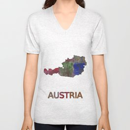 Austria map outline Multicolor hand-drawn watercolor pattern Unisex V-Neck