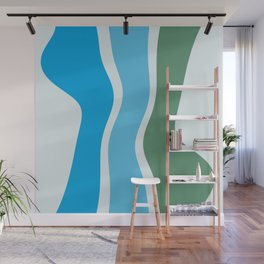 Cyan Turquoise Mint Organic Shapes Wall Mural