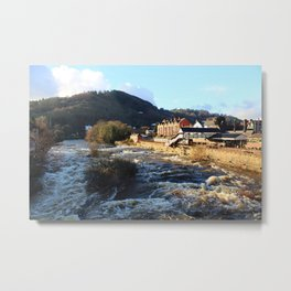 Llangollen Railway Station by the River Dee, Wales Metal Print