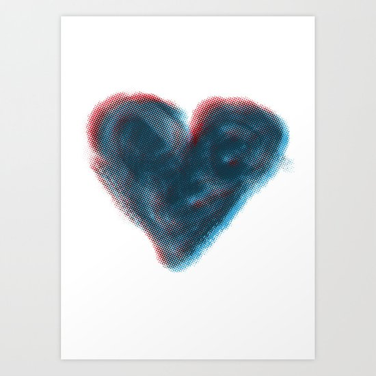 Red and Blue Heart Art Print