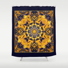Flame Hearts in Blue and Gold Shower Curtain