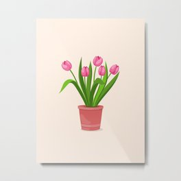 pink tulips in the pot Metal Print