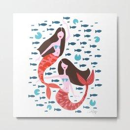 Koi Mermaids – Red & Teal Metal Print
