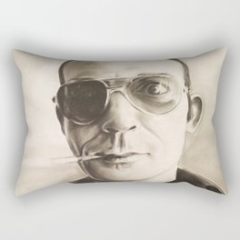 Hunter S. Thompson Portrait in Charcoal Rectangular Pillow