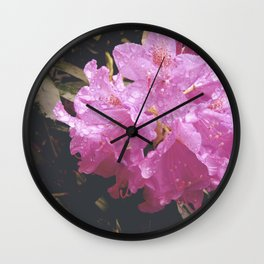 Vintage Pink Rhododendrons Wall Clock