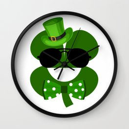 Clover Emoji With Green Top Hat Cool St Patricks Day Wall Clock
