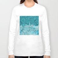 paris map Long Sleeve T-shirts featuring Paris by Bekim ART