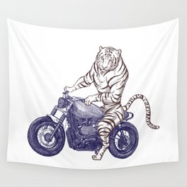 Tiger on a Motorcycle Wall Tapestry