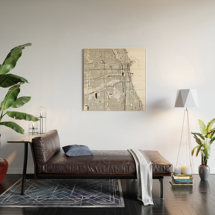 Chicago White Map Wood Wall Art