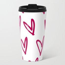 Lovely hearts - fuchsia heart pattern Travel Mug