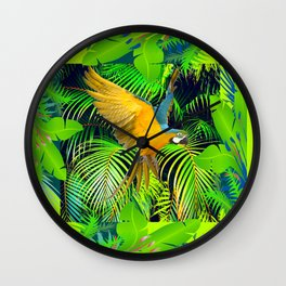 BLUE & GOLD MACAW JUNGLE  ART DESIGN Wall Clock
