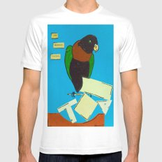 The Wayward Parrot  White MEDIUM Mens Fitted Tee