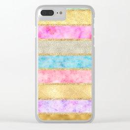 Pretty Gold Glitz Watercolor Stripes Clear iPhone Case