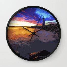 Walton lighthouse, California at sunset Wall Clock