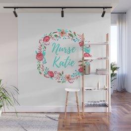 Nurse Katie - Floral Wreath - Watercolor Wall Mural