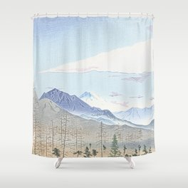 Mountains and firs - Fuji Shower Curtain
