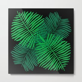 Modern Tropical Palm Leaves Painting black background Metal Print