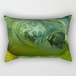 Big Turtle and Small Fish Kiss Rectangular Pillow
