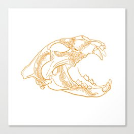 Lion skull with floral ornament Canvas Print