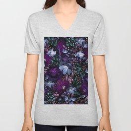 Deep Floral Chaos blue & violet Unisex V-Neck