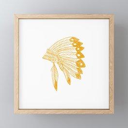 Indian Headdress Brown Framed Mini Art Print