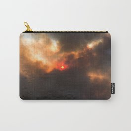 Wildfire | Nature Smoky Sky Blue Red Sun Weather Art Print Tapestry Carry-All Pouch