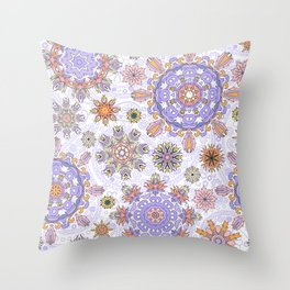 Floral pattern with stylized snowflakes. Christmas winter snow theme pattern. Throw Pillow