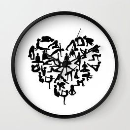 yoga heart Wall Clock