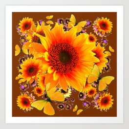 GOLDEN SUNFLOWER BUTTERFLIES MODERN ART DESIGN Art Print