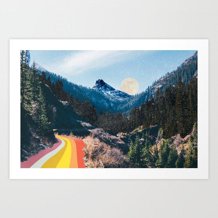 1960's Style Mountain Collage Art Print