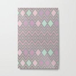 Woven Geometry - Fabric ZigZag Pattern Pastel Pink Mint Charcoal Metal Print
