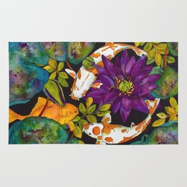 Purple Lily and Koi Rug
