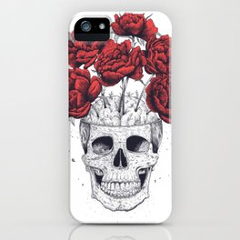 Skull with peonies iPhone Case