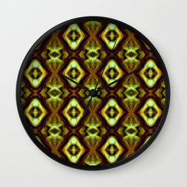 Bright Green Brown Diamond Pattern Wall Clock