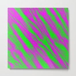 Shiny plaid metal with pink intersecting diagonal lines. Metal Print