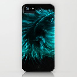 Feather in green-turquoise iPhone Case