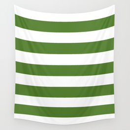 Sap green - solid color - white stripes pattern Wall Tapestry