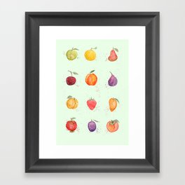 fruit collection watercolor Framed Art Print