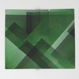 Elegant Emerald - Digital Geometric Texture Throw Blanket