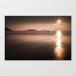 Sunset and wet sand at Worms Head, Gower, Wales Canvas Print