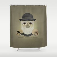 darwin Shower Curtains featuring Charles Darwin - Greater-spotted British Scientist - as an owl. by Scott Tyrrell
