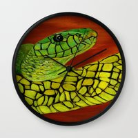 snake Wall Clocks featuring Snake by maggs326