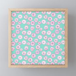 Pink Donuts | Strawberry Watercolor Doughnut Pattern on Teal Framed Mini Art Print