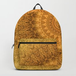 Sunflower Feather Bohemian Sun Ray Pattern \\ Aesthetic Vintage \\ Yellow Orange Color Scheme Backpack