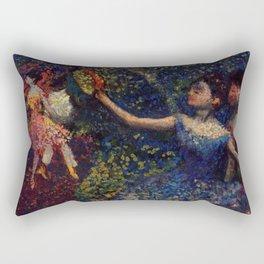 Dancer and Tambourine Portrait Painting by Edgar Degas Rectangular Pillow