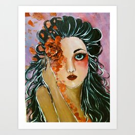 Mixed media Flower Portrait (Baroque-n Heart) Art Print