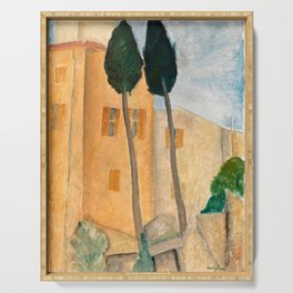 """Amedeo Modigliani """"Cypresses and Houses at Cagnes (Cyprès et maisons à Cagnes)"""" Serving Tray"""